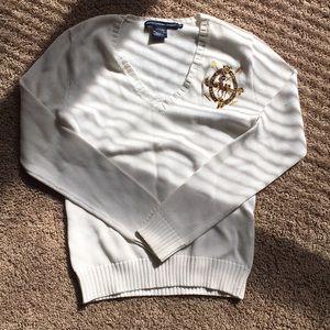 Ralph Lauren Sport White V-Neck Polo Sweater